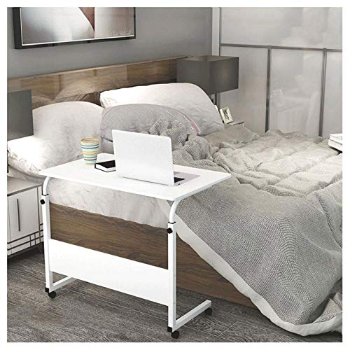 ALBBMY Overbed Bedside Table Days Overbed Table with Castors Height-Adjustable Suitable for Bedroom, Living Room, Sofa (Color : White, Size : 31.5x15.7x35.4in)