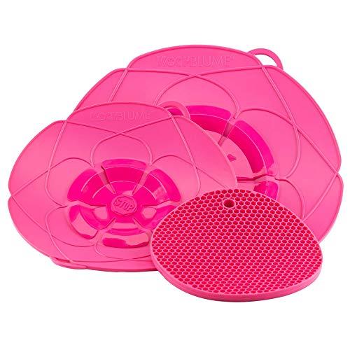 Kochblume Profi-Set für Töpfe von 14 bis 28 cm mit Bionic Multipad als Set in der pinken Box | Silikon Überkochschutz und Untersetzer/Topflappen (pink)