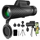 Benewell 12X50 Monocular Telescope, Day and Low Night Vision Waterproof Zoom Telescope, High Power Monocular with Smartphone Holder & Tripod, BAK4 Prism Dual Focus for Bird Watching Hunting