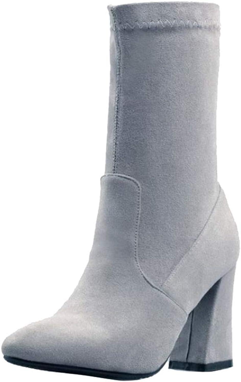 Onewus Women Chunky Heel Mid Calf Boots