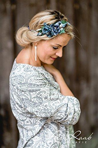 Brauthaarband Blumenkranz Blüten Diadem Braut Frisur Hochzeit Boho C1 - 4