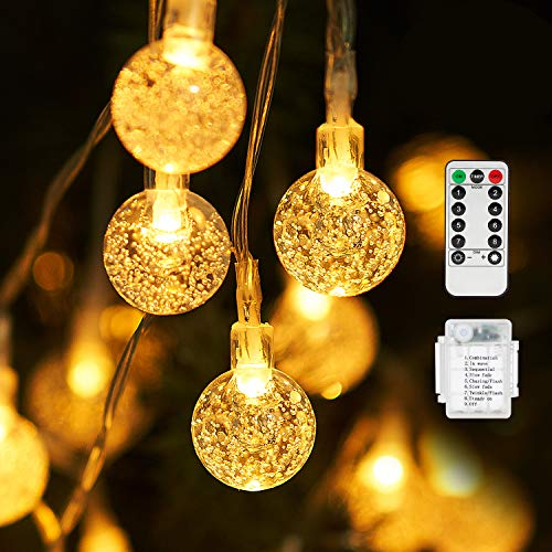 SUNNEST String Lights, 50 LED 7M/24Ft String Lights Waterproof 8 Modes Indoor/Outdoor Fairy Lights Globe for Garden, Patio, Yard, Home, Party, Wedding, Festival Decoration (Warm White)
