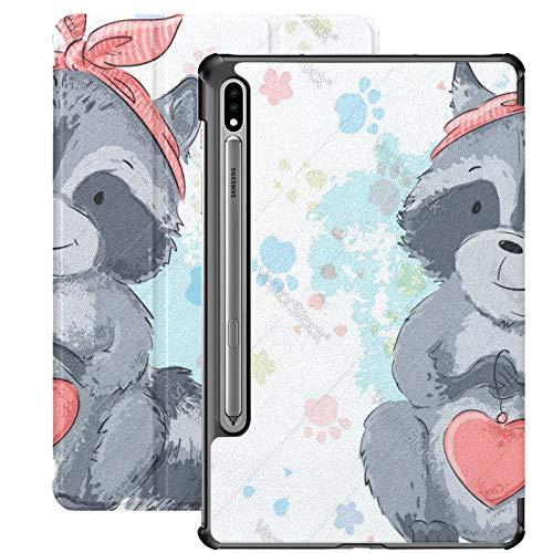 Funda para Galaxy Tab S7 Funda Delgada y Ligera con Soporte para Tableta Samsung Galaxy Tab S7 de 11 Pulgadas Sm-t870 Sm-t875 Sm-t878 2020 Lanzamiento, Postal Mapache Lindo con corazón Estilo de dibu