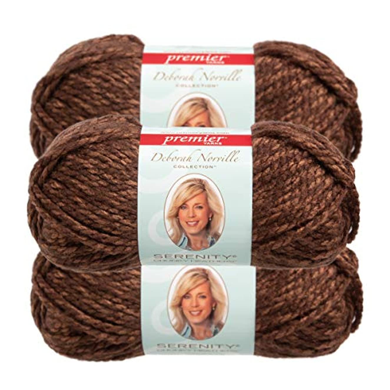 Premier Yarns (3 Pack Deborah Norville Serenity 100% Acrylic Soft Coffee Heather Brown Yarn for Knitting Crocheting Chunky #5