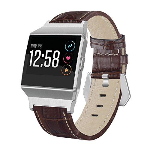 Aisports Bracelet de rechange en cuir avec fermoir à boucle classique en métal pour montre connectée Fitbit Ionic Marron foncé