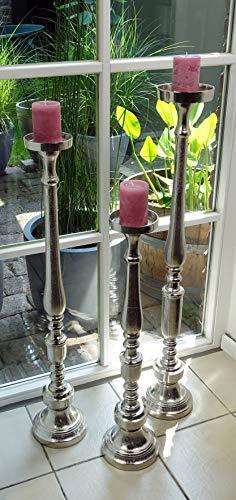 Kerzenständer Kerzenhalter Aluminium Deko Modern Silber Raw - Kerzenleuchter Groß aus Metall - XXL 3 Größen 76 cm / 92 cm / 102 cm (H 76 cm (MN-KS-8007))