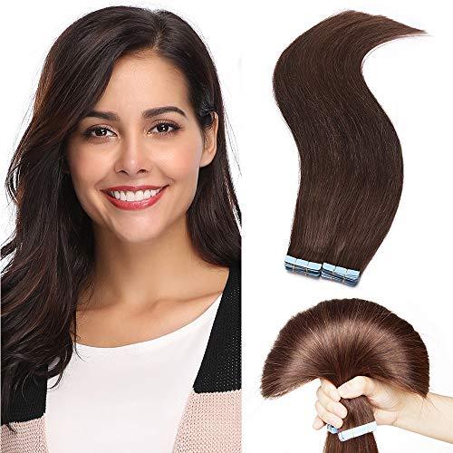 """20 PCS Extension Adhésive Bande Adhésive Cheveux Humain Naturel Mèche Rajout Cheveux 2g/pcs Tape In Hair Extension Human Hair 12"""" Pouces, 4 Châtain"""