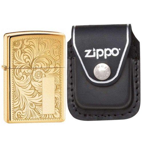 Zippo 352B Venetian Hochglanz Messing Initiale Panel winddicht Feuerzeug mit Zippo schwarz Leder Clip Tasche