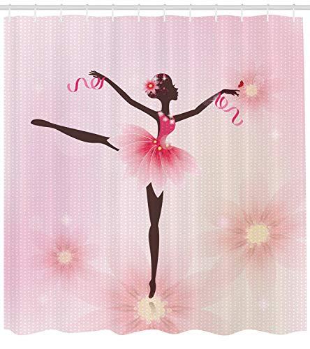 Mädchen Duschvorhang Ballerina Silhouette Print für Badezimmer