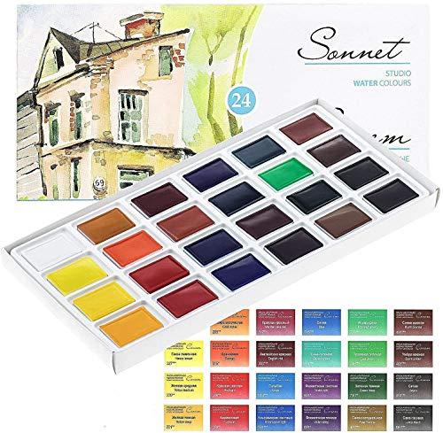 Sonnet Aquarellfarbkasten Set - 24 kräftige Studio Aquarellfarben - Hochwertige Wasserfarben von Nevskaya Palitra