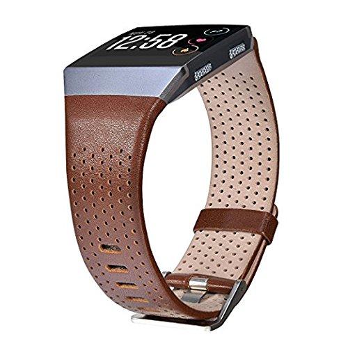 V-MORO Fitbit Ionic Armband, Leder Klein, echtes Leder Smart Uhrenarmband Armband Ersatz Armband für Fitbit Ionic Smart Fitness Uhr(Dunkel Braun, Klein)