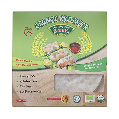 TANISA Organic Spring Roll Rice Paper Wrapper for Fresh roll (22cm, Round, 7.05 oz/pack) (Organic White) Non GMO, Gluten free, made in Vietnam