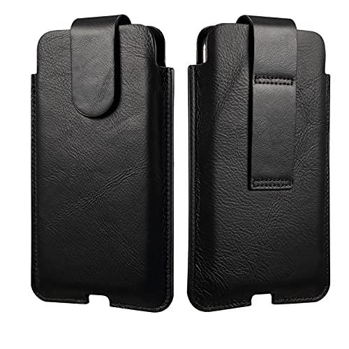 Funda de cuero genuino para cinturón de teléfono celular para iPhone 11 Pro Max, XS Max, 8 Plus, 7 Plus, 6 Plus, 6S Plus, fundas para cinturón para hombres 【Cierre magnético】