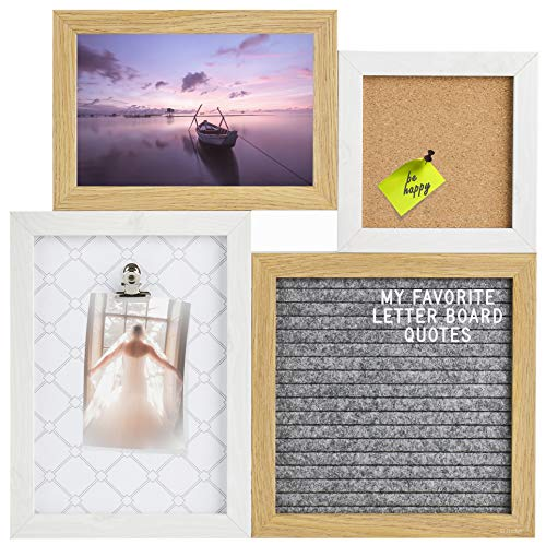 Gadgy ® Letter Board, Pinnwand und Klemmbrett in Einem | 31,3 x 31,3 x 1,5 cm | Mit 170 Weiße Buchstaben und 2 Pinnwandnadel