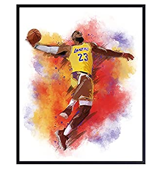 Lebron James Basketball Watercolor Wall Art Print - Unframed Photo - Great African American Home Decor or Gift For Art Lovers - Ready to Frame  8X10  Photo