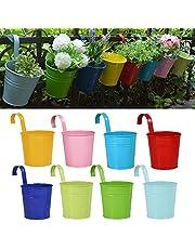 RIOGOO Blomkrukor, trädgårdskrukor hängande hinkar hängande blomkruka, metall blomkrukor heminredning – avtagbar krok (8 st)