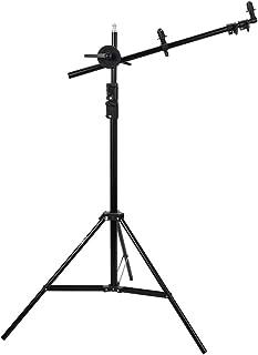 UTEBIT レフ板 スタンド + ライトスタンド キット 長さ65-174cm 伸縮 ブームアーム レフ板クリップ 入り レフホルダー 360度回転 スタジオ写真 摄影用 丸レフ板 60 / 80 / 110 / 120cm などに対応 アルミ合金製 折り畳み