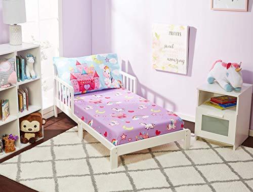 Juego de sábana bajera y funda de almohada para niños de Everyday Kids – Unicorn Dreams – microfibra suave, transpirable e hipoalergénica juego de sábanas para niños