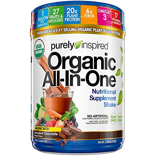 Meal Replacement Shake, Organic | Purely Inspired All-in-One Meal Replacement | Plant Based Protein Powder for Women & Men | Organic Protein Powder | Protein Shake Powder | Chocolate, 1.3 Pounds