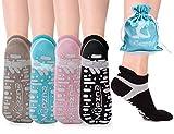 Muezna, calzini antiscivolo per yoga, da donna, antiscivolo, per Pilates Barre Bikram Studio con impugnature…