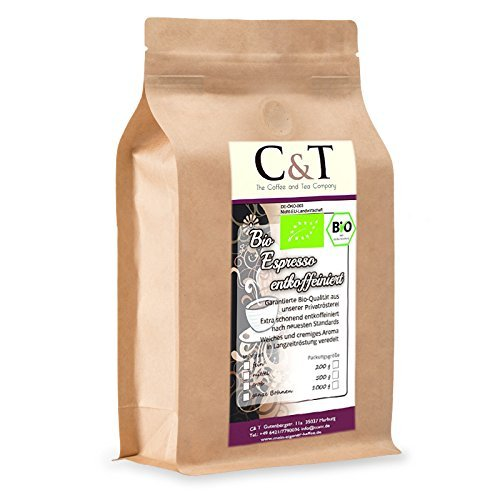 C&T Bio Espresso Crema | Cafe entkoffeiniert 100 % Arabica 500 g entkoffeinierter Kaffee ganze Bohnen im Kraftpapierbeutel