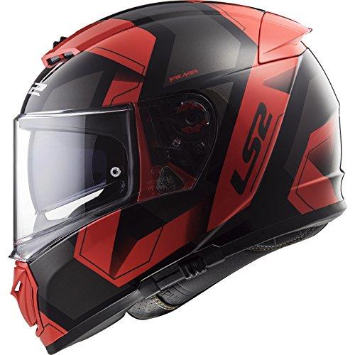LS2 NC Casco per Moto, Hombre, Negro/Rojo, M
