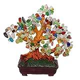 GMMH Feng Shui Albero di Denaro con 25 cm-Crassula Bonsai Giada Pietra Artificiale pfennigbaum Mano Multicolore