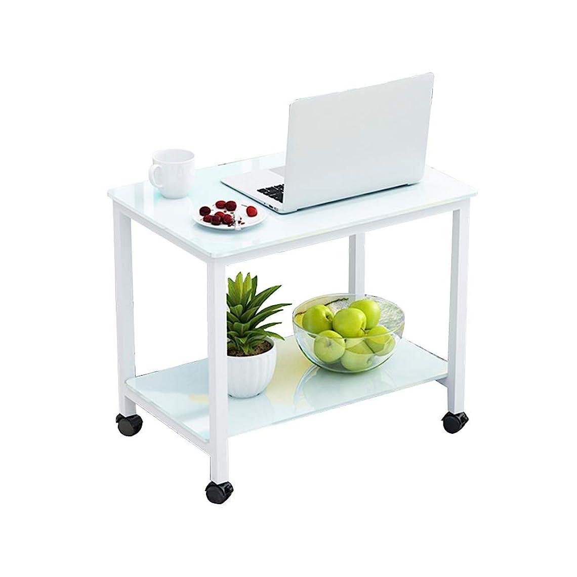 に頼るはげぜいたくZR-ウォールテーブル サイドテーブル、強化ガラス製スモールコーヒーテーブル、スモールテーブルを移動する、ソファコーナー、バルコニースクエアテーブル、炭素鋼フレーム - スペースを節約 (色 : Whtie)