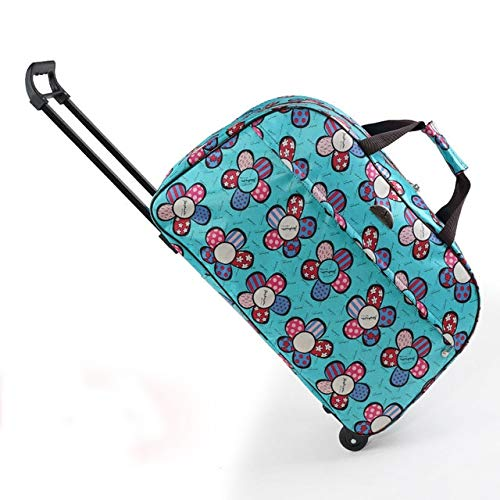 Mdsfe oxford Rolling Luggage Bag Travel Suitcase With Wheels Waterproof Trolley Luggage For Men/Women Carry On Travel Bags - Blue Flower, M