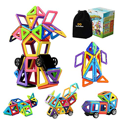 infinitoo Magnetische Bausteine 76tlg Magnetic Bauklötze Konstruktion Blöcke   Tolles Lernspielzeug für Kinder ab 3 Jahre   Perfekt für Einsatz zu Hause in Kindertagesstaetten etc