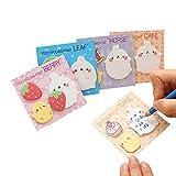 Affe 4pcs Kawaii Lapin Sticky Notes Autocollant Memo Pad Dessin animé étiquette école bureau d'alimentation