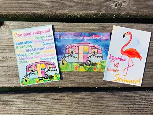 Camping entspannt! Home sweet Home! Flamingo - Irgendwo ist immer Sommer! Postkarten Set 3 Stück AnneSvea postcard Urlaubsgrüße Camper Bus Wohnmobil Wohnwagen Van Deko Adventskalender Befüllung