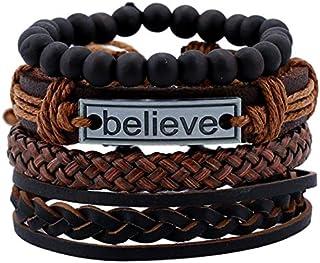 4PCS/Set Vintage Punk Leather Men's Bracelet Woven Multilayer Jewelry Believe