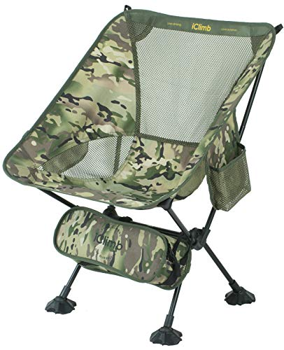 iClimb Ultralight Compact Camping Folding Beach Chair with Large Feet (WoodlandCamo - Basic)