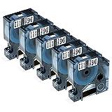 Nastro per Etichette Fimax Compatibile In sostituzione di Dymo D1 S0720530 45013 12mm x 7m Nero su Bianco Nastro Compatibile per Dymo LabelManager 160 280 120P (Confezione da 5)