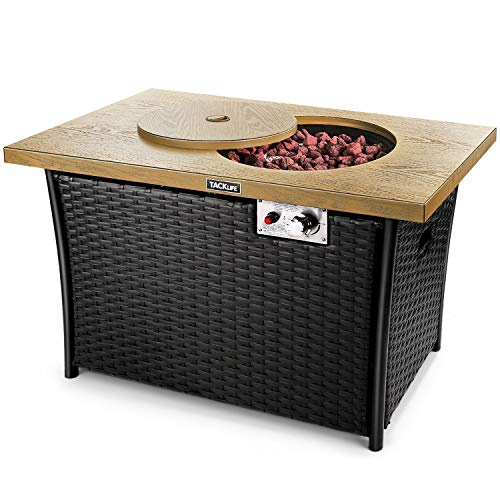 TACKLIFE Fire Table, 41 Inch 50,000 BTU Propane Fire Pit, Special high-Grade Rattan, Gas Fire Pit Table,Hand-Woven,Outdoor Companion, ETL Certification, Imitation Wood, Strong Steel Surface