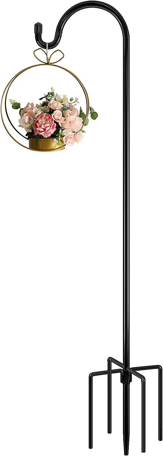 FEED GARDEN 48 Inch Adjustable Shepherd Hook with 5 Prongs, 1/2 Inch Thick, Adjustable Heavy Duty Firm Outdoor Garden Hanging Stake for Bird Feeders, Plant Basket,Wind Chimes, Black (1 Pack)