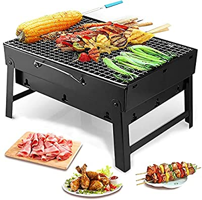 Barbecue Grill, Charcoal Grill Folding Portable Lightweight Barbecue Grill Tools for Outdoor Grilling Cooking Camping Hiking Picnics Tailgating Backpacking Party 17.5''x12.9''x3.3''