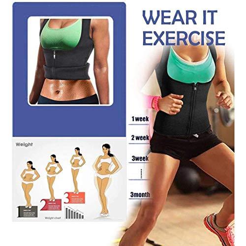 Realdo Womens Waist Trainer Corset Zipper Vest Body Shaper Cincher Tank Top Fitness Sport Workout Slimming Black