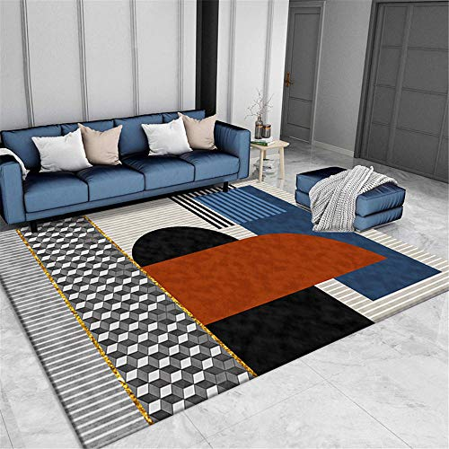 WQ-BBB Rugs Washable dosen't shed Living Room Rugs 3D style decoration black gray gold brown blue geometric Non-slip carpet bedroom rug formaldehyde-free Rugs 200X300cm