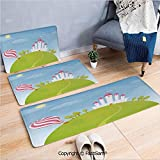 3 Piece Non Slip Flannel Door Mat Fantasy Castle on Top of The Hills and Hot Air Balloon in Sunny Sky Day Kids Art Indoor Carpet for Bath Kitchen(W15.7xL23.6 by W19.6xL31.5 by W35.4xL62.9)