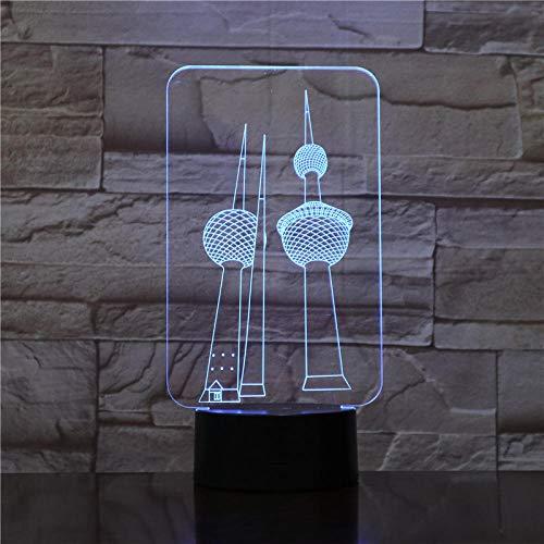 Lámpara de ilusión 3D Luz de noche LED Dos Torres Rgb Lámpara de mesa USB 7 colores que cambian Dulces amantes Regalo de novia Puerta de transporte, Niño niña Cumpleaños Regalo de Navidad