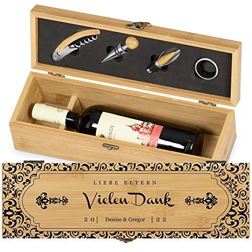 Murrano Weinbox für 0,7L Weinflasche - Wein Holzbox personalisiert + 4er Weinzubehör - Weinset Weinkiste - aus Bambus - Braun - Geschenk zum Hochzeitstag Paare - Vielen Dank