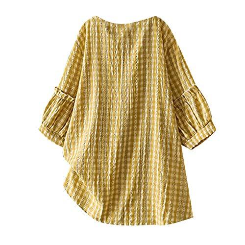 Camisa de manga corta para mujer, diseño de flores, con botones amarillo L
