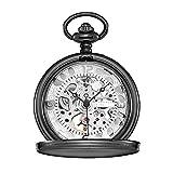 Yaunli Reloj de Bolsillo Neutral Reloj de Bolsillo Hueco Tallado Clamshell Mechanical Roman Classic Machinery Black Reloj de Bolsillo del análogo de Cuarzo (Color : White, Size : 4.7x1.5cm)