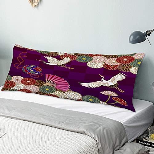 Body Kissenbezug Abdeckung Kraniche, Handball, Handfächer und Chrysanthemen Japanisches traditionelles Muster 50 cm x 135 cm langer Kissenbezug Weiche, gemütliche, luxuriöse, seidige Mikrofaser