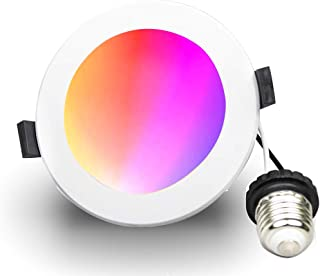 Smart Downlight 6inch, WiFi RGBW LED Recessed Ceiling Lighting Downlight,Compatible with Alexa, Google Home, Siri(No Hub Required) E26 10W Equivalent 100W, 2700K to 6500K Dimmable Color Changing Light