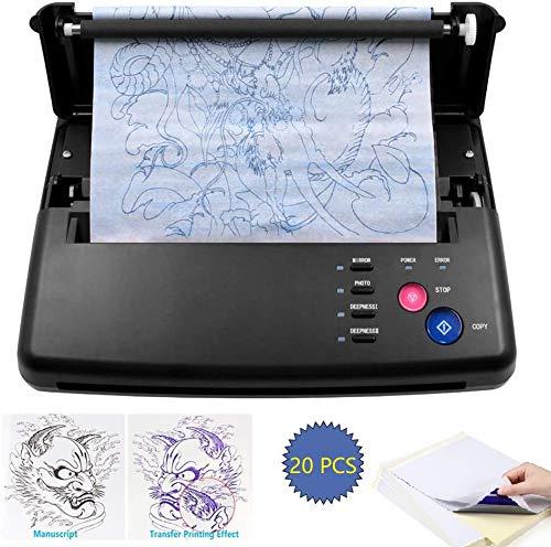 WXCCK tattoo overgangsmachine, printer tattoo thermisch sjabloonprinter kopieermachine met 20 stuks A4 thermotransferpapier geschikt voor tattoo hal, huishouden