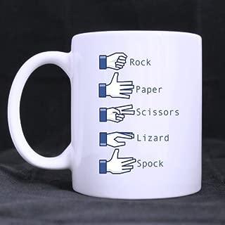 Funny Funny Novelty Rock Paper Scissors Lizard Spock Theme Coffee Mug or Tea Cup,Ceramic Material Mugs,White 11oz