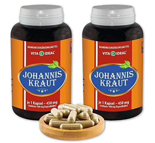 VITAIDEAL ® Johanniskraut (Hypericum perforatum) 2x360 Kapseln je 450mg, aus rein natürlichen Kräutern, ohne Zusatzstoffe